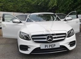 White Mercedes wedding car hire in Barnsley